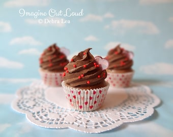 Fake Cupcake  Chocolate Faux Romantic Valentine Hearts Kitchen Decoration Food Prop