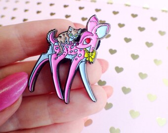 Ruby and Mags adorable kitten and deer enamel pin. Lilly Piri. Pink Fawn deer.