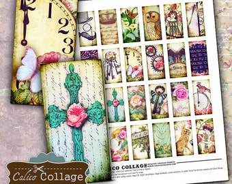 Vintage Whimsical, Collage Sheet, 1x2 Collage Sheet, Whimsy Domino Images, Domino Collage Sheet, Images for Pendants,  Whimsy Collage Sheet