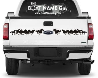 Seven Running Horses graphics Large Pair Auto Trailer Decals 7 Equine logos Waterproof Auto Gift