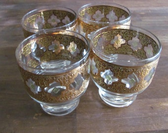 Vintage  Culver Valencia Pattern Hollywood Regency Mid Century style Low Ball Glasses Set  of 4