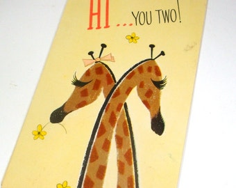 Vintage Anniversary Card, Giraffes, Animal, Trifold, Retro Greeting Card, Kitsch, Mid Century  (460-15)