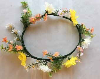 Reserved-White & Yellow Daisy Flower Crown
