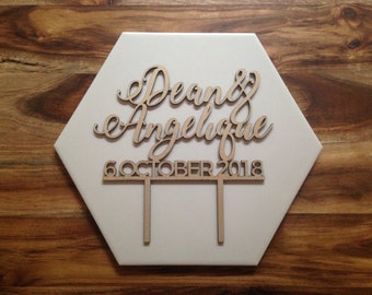 CUSTOM NAME & DATE Cake Topper, wooden name wedding cake topper for engagement, wedding, special occasion