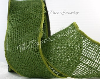 """Wired Green Burlap Ribbon, 2.5"""" wide by the yard"""