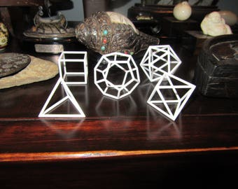Five Platonic Solids Wireframe GolfBall Size