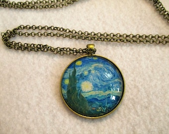 VAN GOGH Starry Night Cabochon PENDANT Necklace