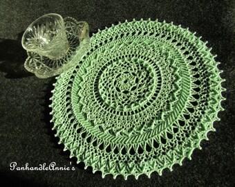 "Handmade ""Elysium"" Mint  Crocheted Doily"