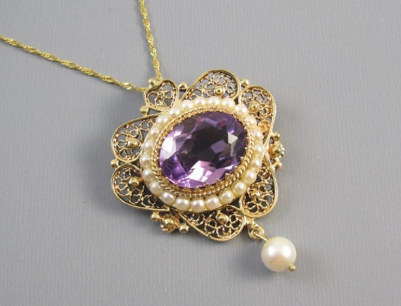 Vintage estate 14k gold 6.68 carat purple amethyst pearl halo beaded filigree pendant necklace brooch pin, signed Wasko NY