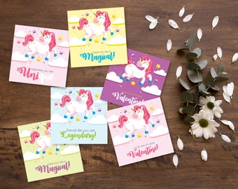 Cute Unicorn Valentines, Easy DIY Instant Download Printable Valentines for kids and their school class parties