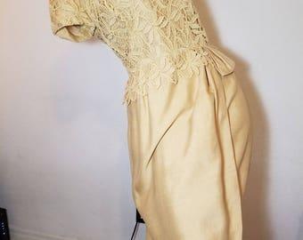 FREE  SHIPPING  1950  Silk  Lace  Hourglass Dress