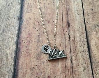 Opera House initial necklace - opera house jewelry, Australia jewelry, travel jewelry, Sydney necklace, Australia necklace