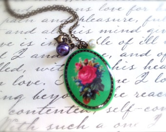 Vintage Porcelain Rose Necklace. Green Oval Cabochon. Pink Roses. Floral. Pearls. Purple. Heart. Romantic. OOAK. Vintage. Brass.