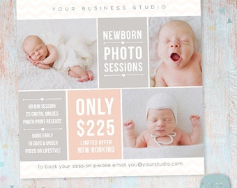 Newborn Photography Marketing Board - Newborn Mini Sessions Photoshop Template - IN007- INSTANT DOWNLOAD