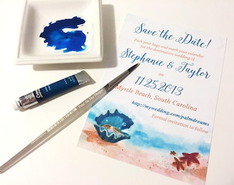 """Beach Save the Date, Starfish Save the Date, Watercolor Wedding, Sea Star Wedding """"Clam Shell Treasures"""" Destination Wedding Save the Date"""