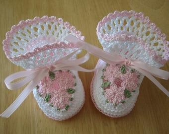 Crochet Baby Booties - Baby Booties Crochet - Baby Girl Booties - Christening Shoes - Baby Shower Gift - Pink - Newborn Baby - Reborn