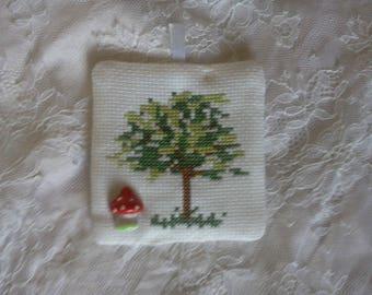 """mushrooms and tree"" cross stitch pattern"
