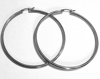 "18k solid white gold(2""inch)tube hoop earrings(2.7gr)"