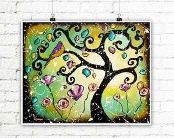 Emerald Green Tree of Life Wall Art Print, Whimsical Art Print, Bird Art Wall Decor, Curly Tree Woodland Decor