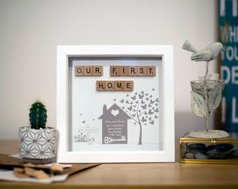 Personalised 'Our First Home' Scrabble Frame