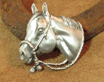 Quarter Horse Brooch  |  Hackamore Horse  Pin | Brooch | Western Horse Jewelry