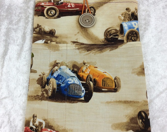 Handmade Tablet Case Cover Pouch iPad/Kindle MEDIUM Classic Cruisers Racing Cars