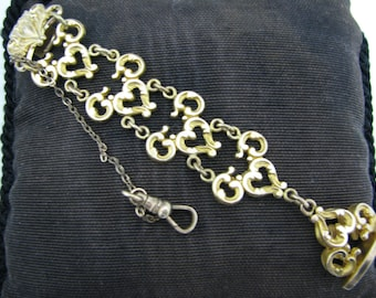 c086 Vintage Pocket Watch Chain Featuring Filigree Links on a Waist Clip