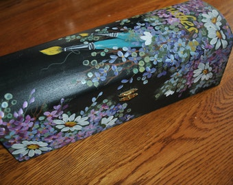 FOR SALE NOW - New Hand Painted Wooden Box w/ Daisies and flowers for brushes.. For Sale Ready to Ship