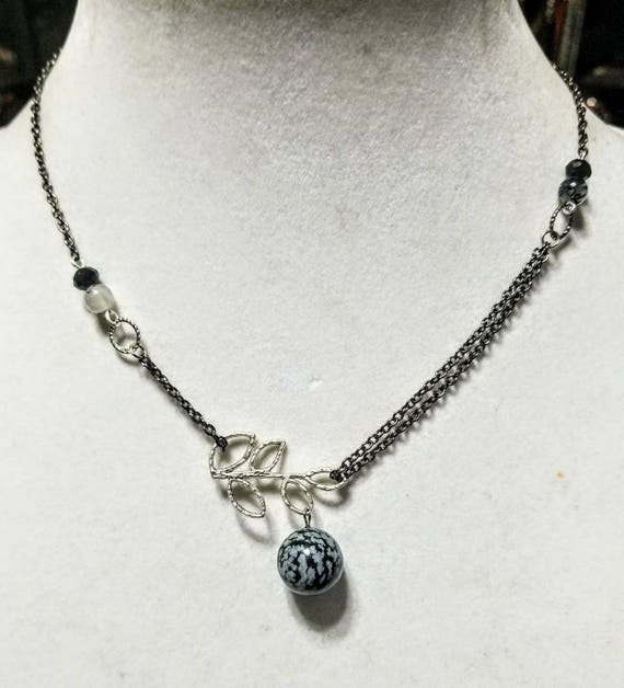 Meditation Stone Necklace: Soothe Your Soul - Tourmalinated Quartz and Snowflake Obsidian