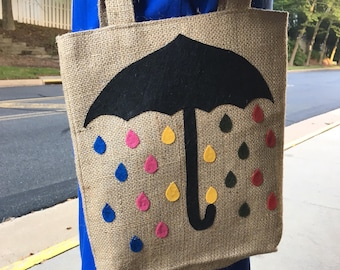 Spring showers tote Rainbow raindrops umbrella bag