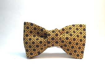 Mustard / Yellow Ochre Geometric Caning pattern Bow Tie