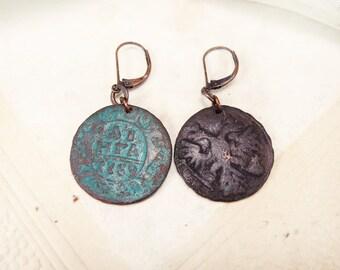 De pièce de monnaie boucles d'oreilles - Boucles d'oreilles bilatéraux - Boho boucles d'oreilles - Boucles d'oreilles Antique en cuivre