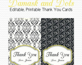 Thank You Cards, Black and White Bridal Shower, Damask and Dots Party, Yellow, Personalized Note Cards -- Printable, Editable, Instant