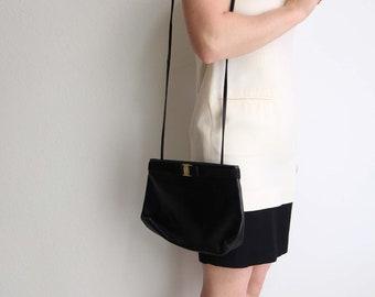 VINTAGE Salvatore Ferragamo Vara Bag Purse Black Leather