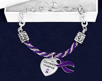Domestic Violence Purple Ribbon Partial Rope Bracelet (1 Bracelet - Retail) (RE-B-18-4DV)