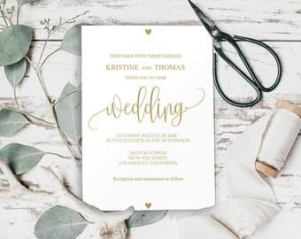 Gold Wedding Invitation, Printable Wedding Invitation Template, Gold Wedding, Gold Invitations, wedding invite, Editable Text, BD-6022_1