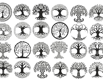 Lost of Tree of Life Symbols  - Ceramic Decals- Enamel Decal - Fusible Decal - Glass Fusing Decal ~ Waterslide Decal - 84142