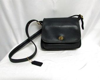 Vintage Coach Rambler's Legacy Black Leather Hand-free Cross-body Shoulder Bag