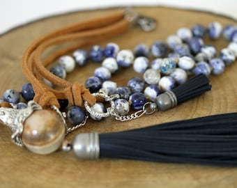 Blue and White Tassel Necklace,  Blue Tassel Necklace, Bohemian Necklace, Knotted Leather Corded Necklace. Boho Jewelry