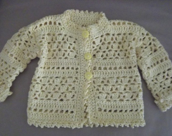 Cardigan - Crochet Baby Cardigan for Boy or Girl 6+ Month