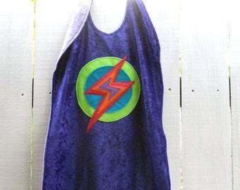 Super Kid Cape PURPLE - Super Cape - Birthday Cape - Super Hero Cape with Lightening Bolt - Halloween Costume