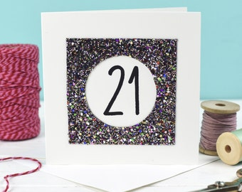 21st Birthday Card Gold Glitter For