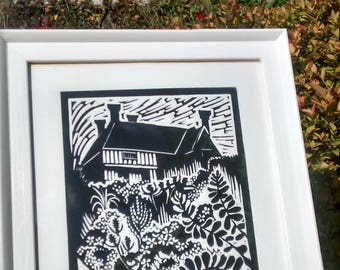 The Great Dixter Long Border, Lino-cut print, art, printmaking, garden