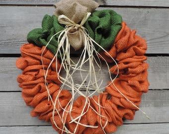 Burlap Pumpkin Wreath