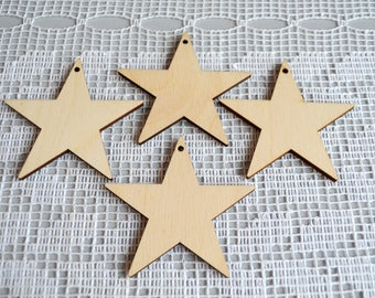 Set of 4 stars, Wooden stars, Craft Shapes, Baby Mobile Craft, jewelry supplies, Earring template, do it yourself, star sky decoration