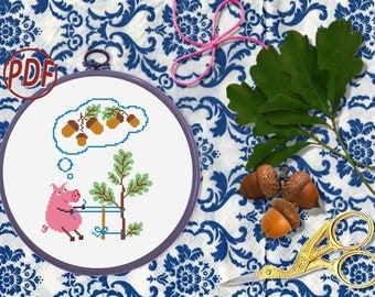 Dreamy piggy - Beginner Cross Stitch Pattern pdf.