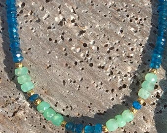 Neon apatite and chrysoprase seaglass necklace