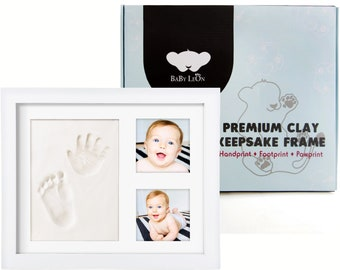 PREMIUM Baby Handprint Kit for Newborns & Pets   Baby Shower Gift for Girls and Boys   Easy DIY Keepsake Frame with Nontoxic Mold-free Clay