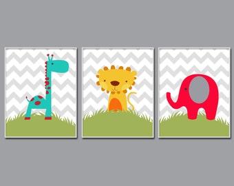 Elephant, Giraffe and Lion Nursery Wall Art Prints, Nursery Prints, Baby Boy Nursery Wall Art Print Bedroom Decor - H797