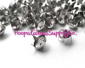 100 pcs- 8mm Swirl Pattern Metal Prong Studs-Avail. in Silver- DIY Clothing- Fast Shipping from USA w/ Tracking 4 Domestic Orders.
